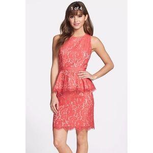 NEW Eliza J Lace Peplum Sheath Dress in 10 Coral